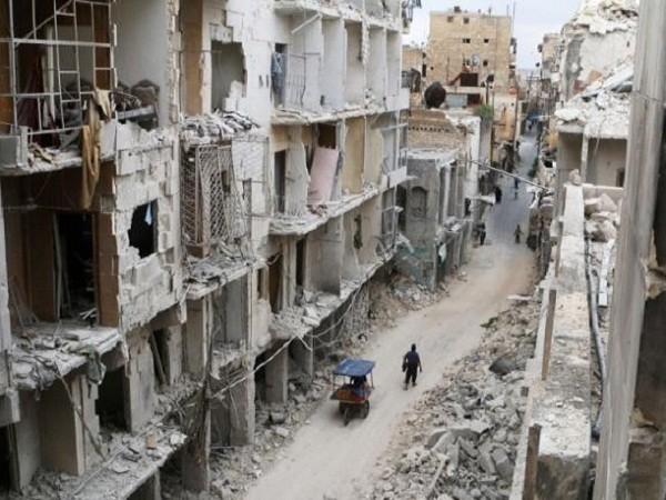 Một góc thành phố Aleppo do lực lượng khủng bố kiểm soát bị tàn phá