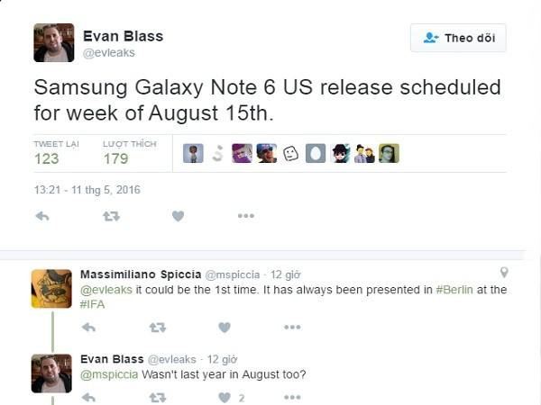 Ấn định ngày ra mắt siêu phẩm Galaxy Note 6 tại Mỹ