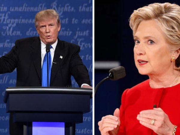 Bà Hillary Clinton xuất hiện trong một bộ đồ đỏ, còn ông Donald Trump xuất hiện trong một bộ vest tối màu, thắt cà vạt xanh, tại buổi tranh luận trực tiếp đầu tiên ở New York, tối ngày 26-9-2016 (giờ Mỹ)