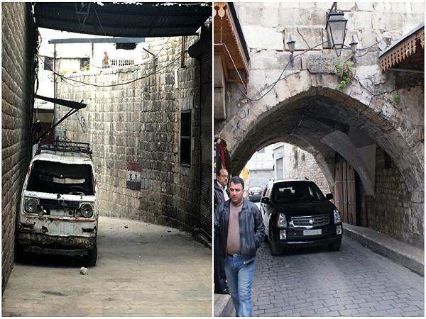 Khu phố Al-Jdeideh trong thành phố cổ Aleppo năm 2009 (ảnh bên phải) và tháng 2-2016
