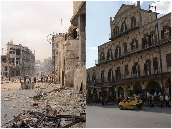 Một trong những địa điểm du lịch chính của Aleppo, Tháp Bab al-Faraj Clock tháng 10-2010 (ảnh bên phải) và 3 năm sau đó.