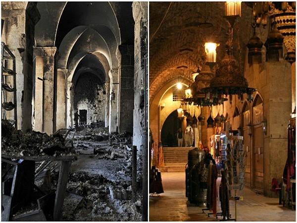 Người dân đi bộ bên trong khu chợ Khan al-Shounah tháng 12-2009 (ảnh bên phải), và khu vực nhà thờ Hồi giáo Umayyad bị cháy rụi tháng 10- 2012.