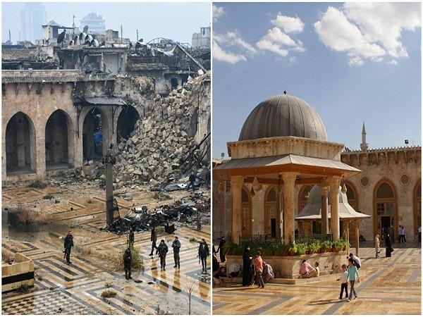 Du khách đi bộ bên trong nhà thờ Hồi giáo Umayyad tháng 10 - 2010 và cảnh đổ nát nhà thờ này tháng 12-2016.