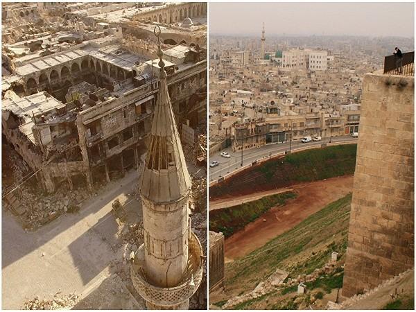 Toàn cảnh thành phố được nhìn từ trên nóc tòa thành lịch sử Aleppo tháng 12-2009 (ảnh bên phải), và khu phố phía đông Aleppo do phiến quân kiểm soát năm 2016.