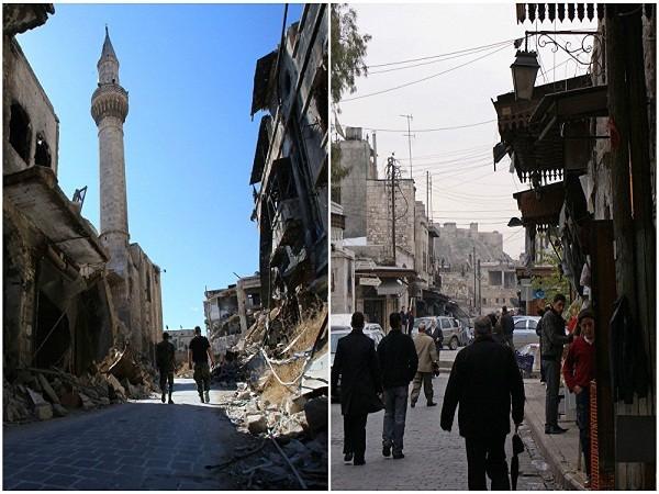 Người dân đi bộ dọc theo một con đường gần thành cổ Aleppo tháng 12- 2009 (ảnh bên phải) và binh sĩ quân chính phủ Syria đi trong khu al-Farafira tháng 9 - 2016.