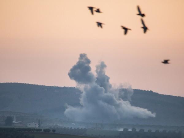 Một đám khói bốc cao ở biên giới Syria, ngày 20-1-2018