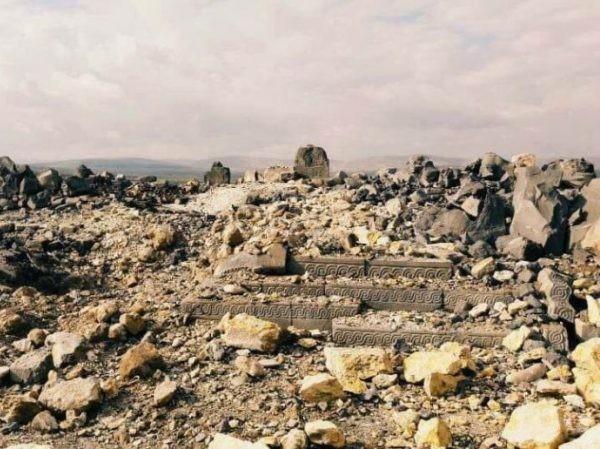 Một khu di tích lịch sử ở Afrin, Syria bị phá hủy hoàn toàn, sau cuộc không kích của Thổ Nhĩ Kỳ, ngày 27-1-2018