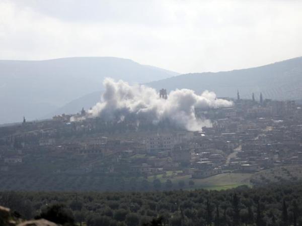 Khói bốc lên mù mịt ở Afrin do bom đạn, ngày 2-3-2018