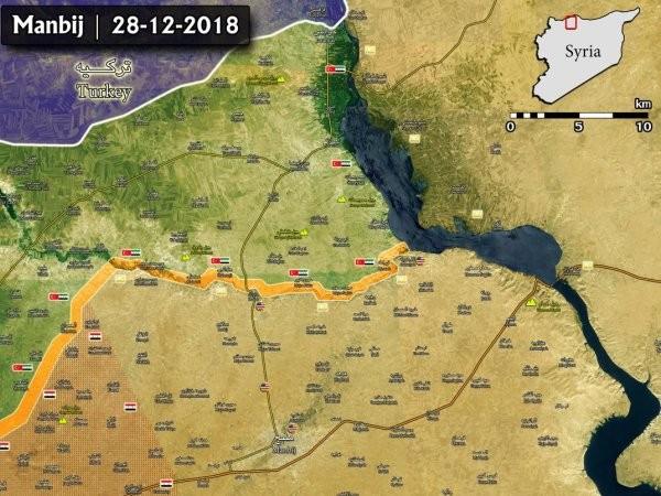 Bản đồ mới nhất về mặt trận Manbij