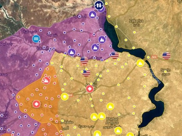 Bản đồ Manbij sau khi SAA và phiến quân huy động đến gần thành phố ảnh 1