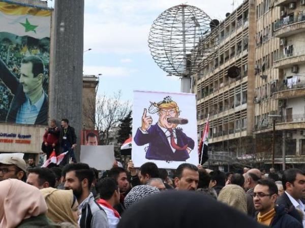 Người dân Syria biểu tình phản đối quyết định của Mỹ công nhận Cao nguyên Golan là lãnh thổ của Israel, ngày 26-3-2019