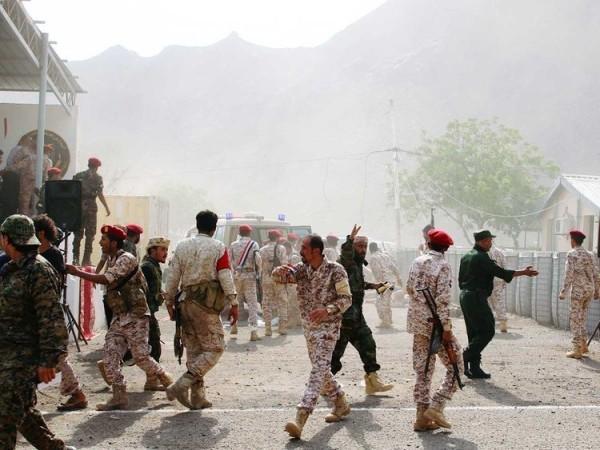 Khu vực gần hiện trường vụ tấn công của Houthi khiến hàng chục binh sĩ Yemen thiệt mạng