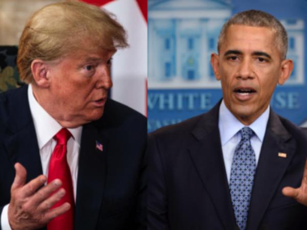 Tổng thống Mỹ Donald Trump (trái) và người tiền nhiệm Barack Obama
