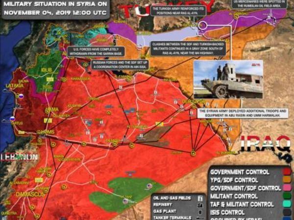 Bản đồ chiến sự Syria, ngày 4-11-2019