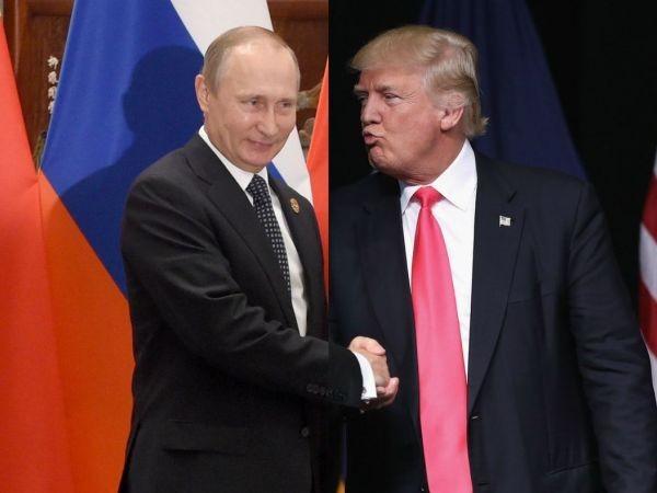 Tổng thống Mỹ Donald Trump (bên phải) và Tổng thống Nga Vladimir Putin