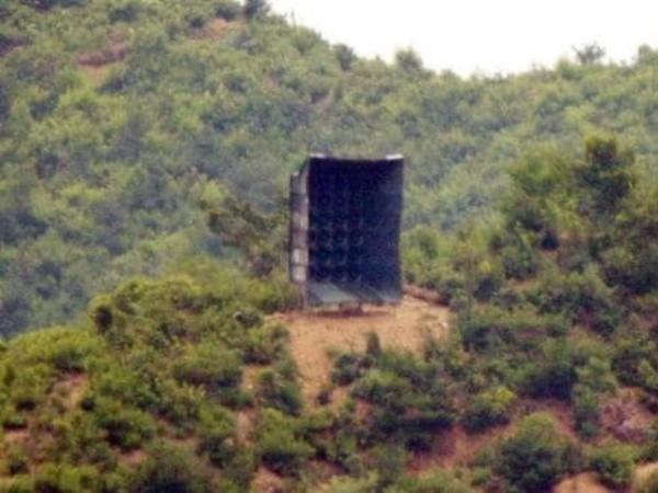 Một loa phóng thanh mới được Triều Tiên lắp đặt tại một địa điểm gần dọc biên giới với Hàn Quốc, ngày 23-6-2020