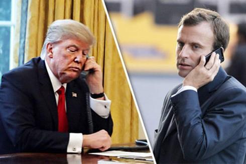 Tổng thống Mỹ Donal Trump điện đàm với Tổng thống Pháp Emmanuel Macron