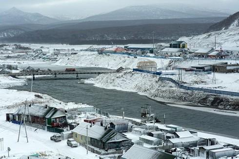 Một góc quần đảo tranh chấp mà phía Nga gọi là Nam Kuril và Nhật Bản gọi là Vùng lãnh thổ phương Bắc ngày 12/12/2016.