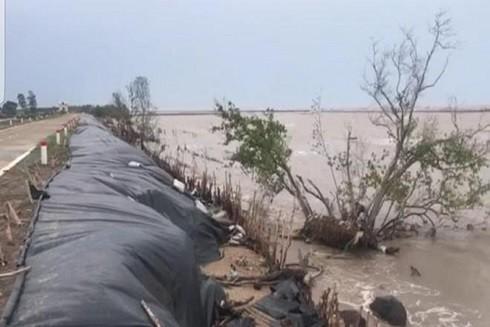 Lực lượng cứu hộ, cứu nạn đã được huy động đến hiện trường đưa đất vào bao, gia cố mặt đê