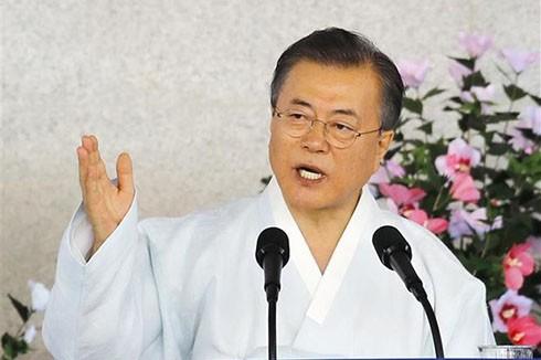 Tổng thống Hàn Quốc Moon Jae-in trong bài phát biểu nhân Ngày giải phóng 15-8 thoát khỏi ách cai trị của phátxít Nhật trên Bán đảo Triều Tiên, tại Cheonan, ngày 15-8-2019.
