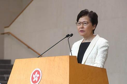 Trưởng Đặc khu Hành chính đặc biệt Hong Kong (Trung Quốc) Lâm Trịnh Nguyệt Nga phát biểu trong cuộc họp báo tại Hong Kong, Trung Quốc, ngày 3-9-2019. (Nguồn: THX/ TTXVN)