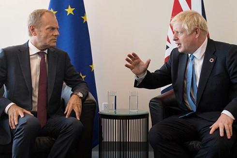 Thủ tướng Anh Boris Johnson và Chủ tịch Hội đồng châu Âu Donald Tusk gặp bên lề phiên họp của Đại hội đồng Liên hợp quốc. (Nguồn: PA)