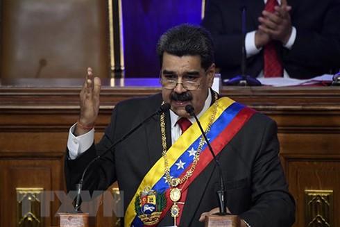Tổng thống Venezuela Nicolas Maduro phát biểu tại phiên họp Quốc hội lập hiến ở Caracas ngày 14-1. (Ảnh: AFP/TTXVN)
