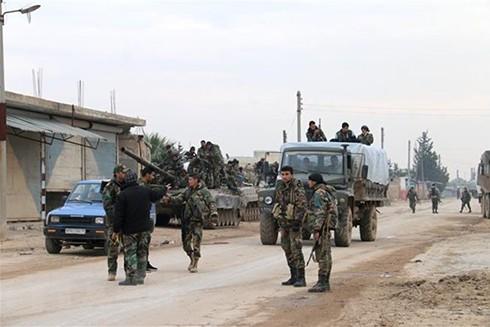 Quân đội Syria tại thị trấn Tal Toukan, ngoại ô tỉnh Idlib, Tây Bắc Syria ngày 5-2-2020