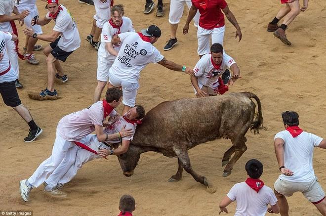 Những khoảnh khắc thót tim trong lễ hội bò tót ở Tây Ban Nha ảnh 11