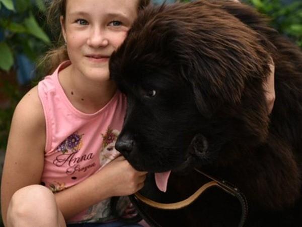 Một bé gái ở Kyrgyzstan cũng nhận được một chú chó Newfoundland sau khi viết thư cho Tổng thống