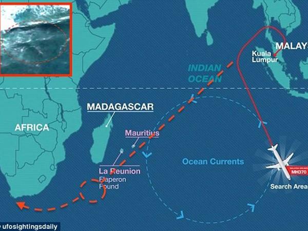 Hình ảnh trên Google Earth được phát hiện vào ngày 27-6-2015, phù hợp với đường trôi của máy bay MH370