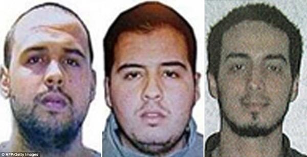 Khuôn mặt của 3 kẻ đánh bom tự sát tại sân bay quốc tế Brussels , Khalid El Bakraoui (trái), Ibrahim El Bakraoui (giữa) và Najim Laachraoui