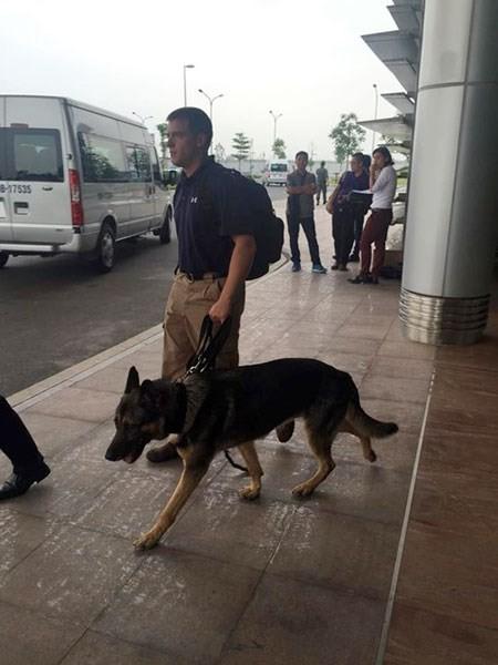 Chó nghiệp vụ Mỹ có mặt tại sân bay Nội Bài trước khi Tổng thống Obama đến