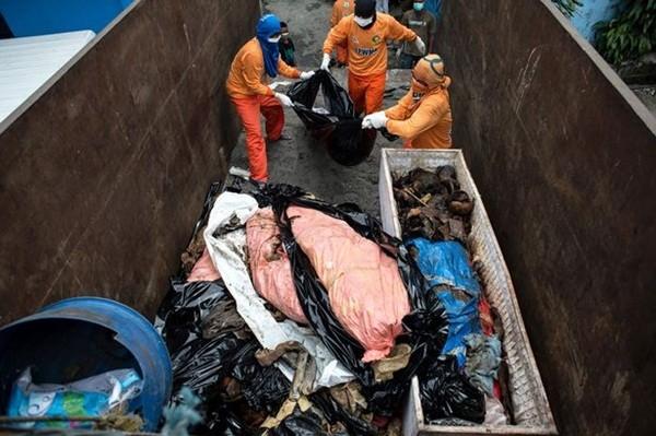 Những nhân viên y tế đưa xác chết lên thùng xe tải và chở về nhà xác để xử lý