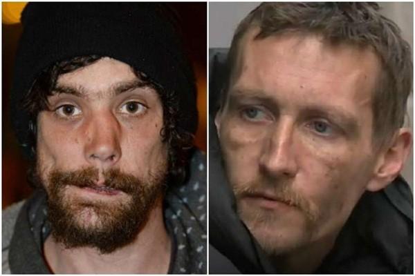 Hai người đàn ông vô gia cư Stephen Jones và Chris Parker (trái) được những người dùng mạng xã hội tại Anh coi là những vị anh hùng