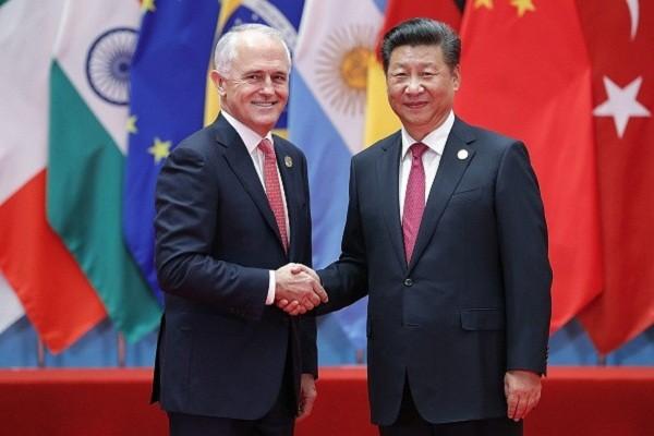 Thủ tướng Australia Malcolm Turnbull và Chủ tịch Trung Quốc Tập Cận Bình tại hội nghị G20