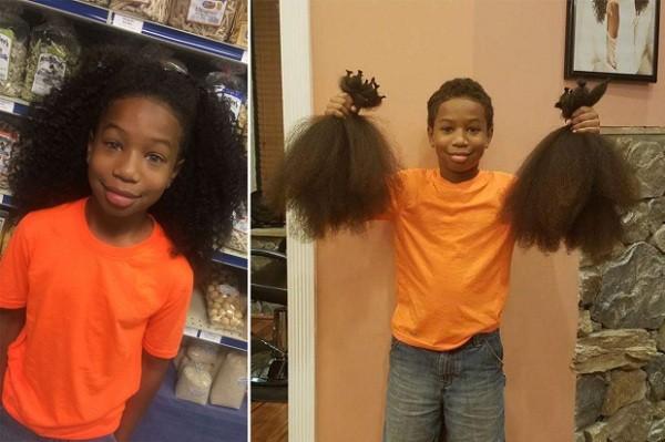 Bé Thomas Moore trước và sau khi cắt tóc