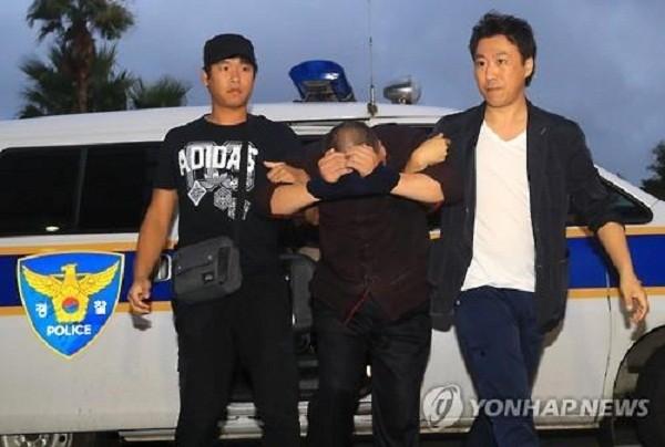Đối tượng họ Trần bị cảnh sát bắt giữ