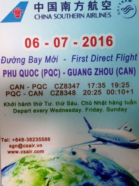 Chuyến bay Quảng Châu - Trung Quốc sẽ khởi hành 3 ngày trong tuần