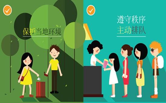 Hình ảnh trong bộ quy tắc ứng xử bằng tiếng Trung yêu cầu du khách không xả rác bừa bãi, xếp hàng khi sử dụng dịch vụ công cộng