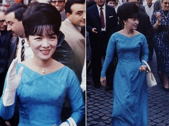 Chiếc áo dài cổ thuyền nổi tiếng của bà Trần Lệ Xuân