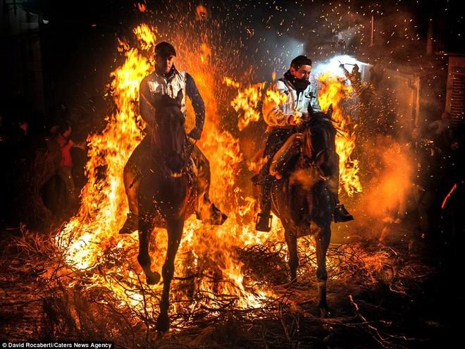 Hai người đàn ông phi ngựa qua lửa ở thị trấn San Bartolome de Pinares, Tây Ban Nha.