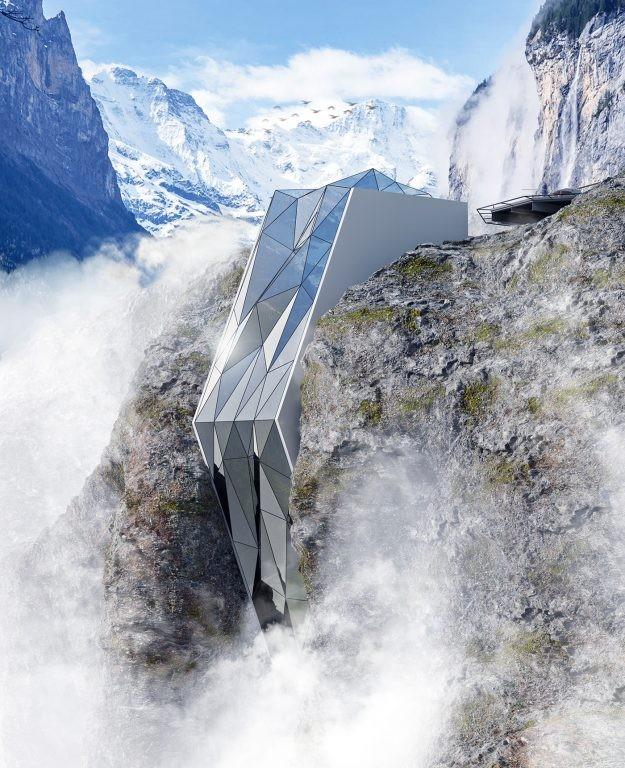 Ngoạn mục khách sạn bằng kính bám trên vách núi cheo leo