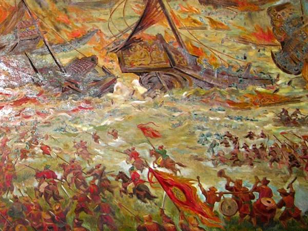 """Một phần bức tranh khổ lớn """"Trận Bạch Đằng giang"""" do cố họa sỹ Lê Năng Hiển sáng tác, được trưng bày tại Bảo tàng Lịch sử Việt Nam"""