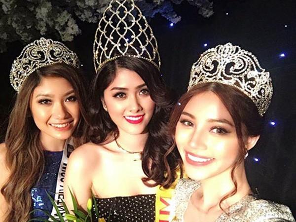 """Thủy Tiên (giữa) tự ý """"thi chui"""" và giành vương miện """"Miss Asia 2016"""""""