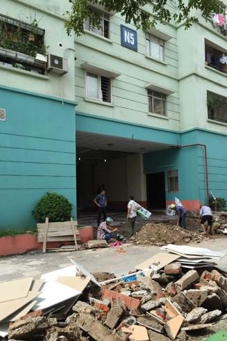 Sự cố sụt lún tại nhà N5 đang được khắc phục