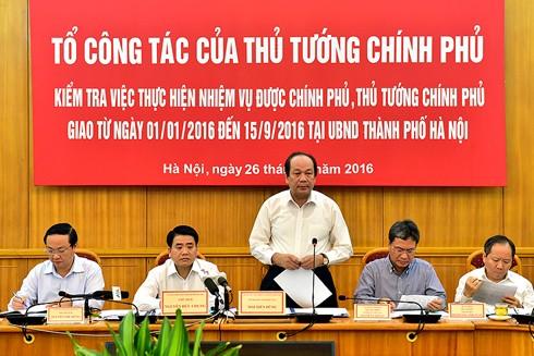 Bộ trưởng, Chủ nhiệm Văn phòng Chính phủ Mai Tiến Dũng, Tổ trưởng Tổ Công tác của Thủ tướng phát biểu tại buổi làm việc