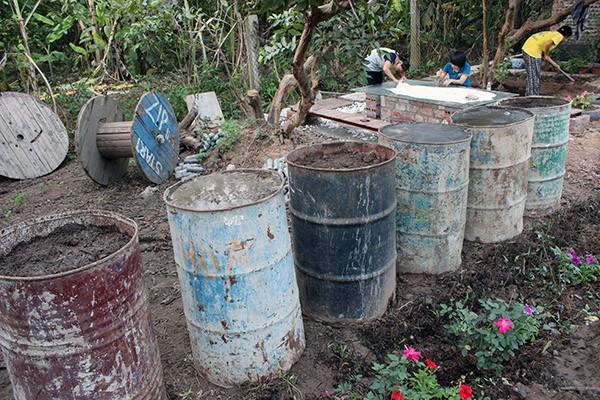 Thay vì diệt cỏ bằng thuốc hóa học, người nông dân phải nhổ cỏ thủ công và đem ủ trong những chiếc thùng phuy cũ để làm phân bón hữu cơ