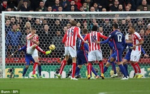 Ryan Shawcross mở tỷ số ngay phút thứ 2 cho Stoke