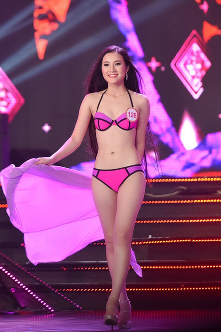 Hoàng Thị Quỳnh Loan cao 1m71, nặng 50kg, số đo 80-62-91.